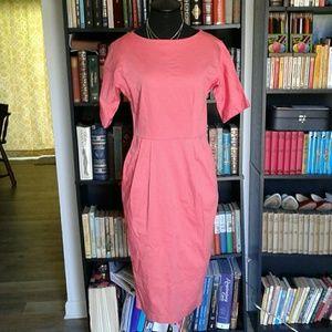 ASOS Coral Pink Wiggle Pencil Dress Pockets 6